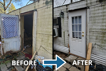 Fauquier Community Coalition, Critical Home Repair Projects, Door Repair Before and After