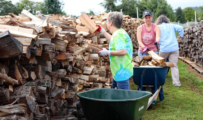 Fauquier Community Coalition, Firewood Initiative, Volunteers Moving and Stacking Wood
